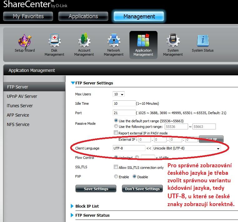 Nastavení FTP protokolu na NAS-BOXu DNS-320